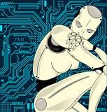 Женский робот с искусственным интеллектом, сидит задумчиво на предпосылке монтажной платы Смогите проиллюстрировать идею  стоковые изображения