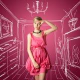 женский розовый сексуальный stewardess Стоковое Изображение