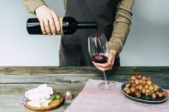 Женский сомелье лить красное вино стоковые изображения