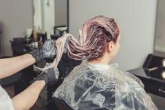 Женский стилизатор прикладывая краску к волосам клиентов стоковое изображение