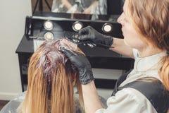 Женский стилизатор прикладывая краску к волосам клиентов стоковая фотография rf