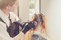 Женский стилизатор прикладывая краску к волосам клиентов стоковые фотографии rf