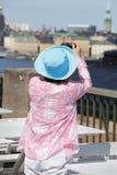 женский турист принимать изображения Стоковые Фото