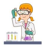 Женский ученый в пальто лаборатории иллюстрация штока