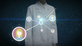 Женский ученый, значок инженера касающий человеческий, соединяясь люди, сеть дела социальный значок обслуживания СМИ иллюстрация штока