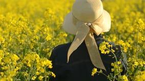 Женский фермер идя в поле семени масличной культуры культивируемое рапсом аграрное рассматривая и контролируя рост заводов видеоматериал
