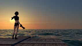 Женский фотограф при камера DSLR фотографируя на заходе солнца Стоковая Фотография RF
