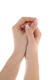 женский французский manicure рук Стоковая Фотография RF