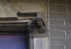 Женский характер бюста окном стоковое фото rf