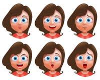 Женский характер вектора воплощения Комплект голов девушки подростка Стоковые Фото