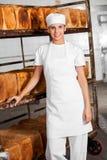 Женский хлебопек усмехаясь пока готовящ шкаф хлеба Стоковые Изображения