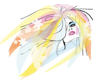 Женский яркий портрет бесплатная иллюстрация