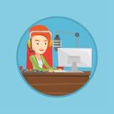Женский dj работая на радио vector иллюстрация Стоковое Изображение