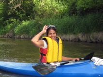 женский kayaker Стоковые Фотографии RF