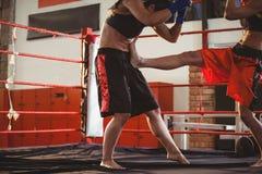 2 женских боксера воюя в кольце Стоковые Фотографии RF
