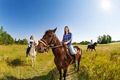 3 женских верховой лошади equestrians в поле Стоковая Фотография