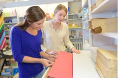 2 женских друз в бумажном магазине Стоковое Изображение RF