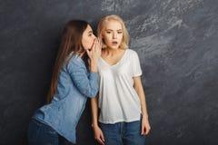 2 женских друз имея потеху на предпосылке студии Стоковые Изображения