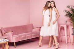 2 женских модели представляя в элегантных платьях Стоковые Фотографии RF