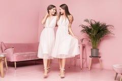 2 женских модели представляя в элегантных платьях Стоковые Изображения RF