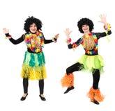 2 женских папуасския в родной изолированный танцевать костюмов Стоковое Изображение