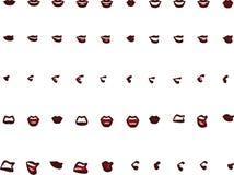 50 женских положений рта - коричневые губы Стоковая Фотография RF