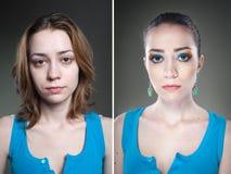 2 женских портрета студии before and after Стоковое Фото