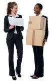 2 женских работника обсуждая детали запаса Стоковые Изображения RF