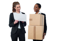 2 женских работника обсуждая детали запаса Стоковые Изображения
