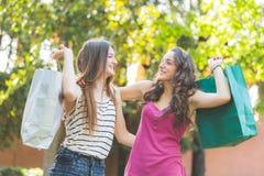 2 женских друз вместе с хозяйственными сумками Стоковое фото RF
