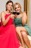 2 женских друз выпивают красное вино Стоковое Изображение RF