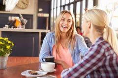 2 женских друз говоря на кофейне Стоковое Изображение RF