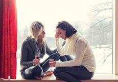 2 женских друз говоря пока сидящ дома Стоковая Фотография RF