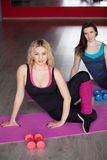 2 женских друз делают тренировки фитнеса на циновках Стоковая Фотография
