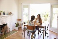 2 женских друз наслаждаясь едой дома совместно Стоковые Изображения RF