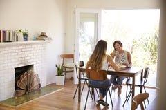 2 женских друз наслаждаясь едой дома совместно Стоковые Фотографии RF