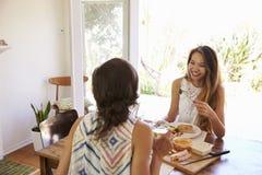 2 женских друз наслаждаясь едой дома совместно Стоковое Фото