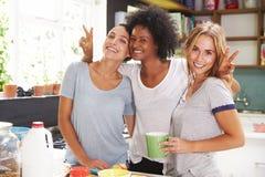3 женских друз наслаждаясь завтраком дома совместно Стоковое Изображение RF