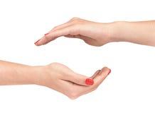 2 женских руки защищая жест Стоковые Фотографии RF
