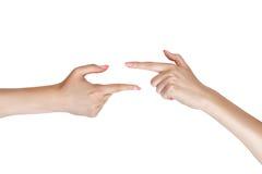 2 женских руки показывают Стоковое Изображение
