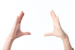 2 женских руки подняли вверх одну напротив другой изолированной на белой предпосылке Стоковые Изображения RF