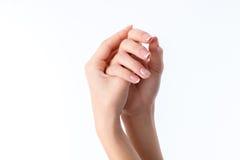 2 женских руки с пересеченным концом-вверх ладоней Стоковые Фото
