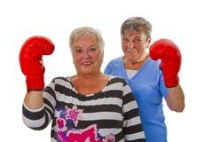 2 женских старшия с красной перчаткой бокса Стоковое Изображение