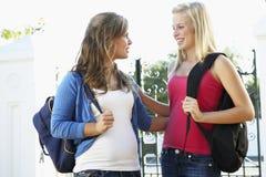 2 женских студента колледжа стоя внешний строб Стоковая Фотография RF