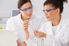 2 женских техника работая в лаборатории Стоковые Изображения RF