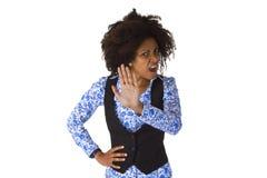 Женское Афро американское говорит НЕТ Стоковое Изображение