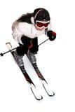 женское катание на лыжах стоковое фото