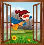 Женское летание супергероя на окне бесплатная иллюстрация