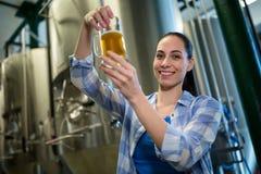 Женское пиво испытания винодела Стоковое фото RF