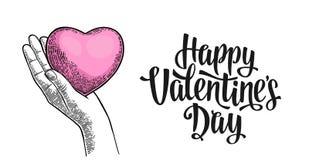 Женское сердце человека владением руки Счастливая литерность дня Валентайн иллюстрация вектора